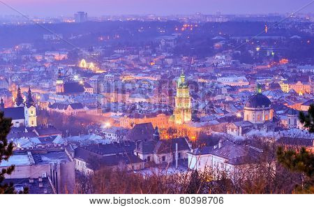 Night Lviv landscape