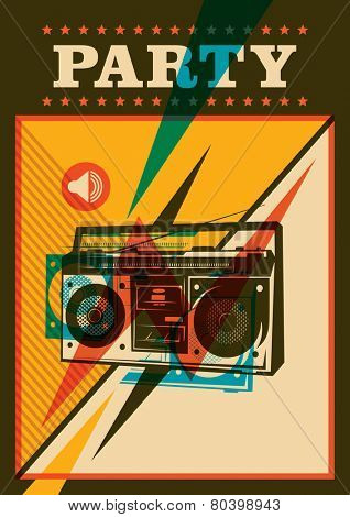 Retro party poster design. Vector illustration.