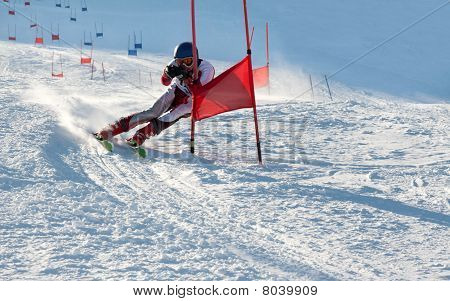 Competitions on mountain ski on March 20 2010 parallel slalom POLYARNYE ZORI Lavrentiev Denis poster