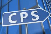 CPS - Cost per Sale - illustration with street sign in front of office building. poster