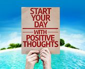 Start your Dat with Positive Thoughts card with a beach on background poster