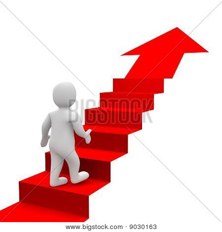 Man and red stairs