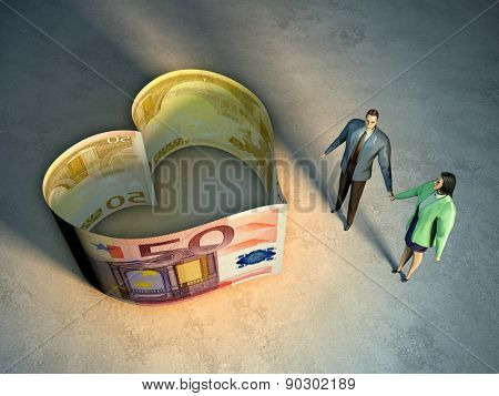 Couple holding hands, next to an heart symbol created by two money bills. Digital illustration.