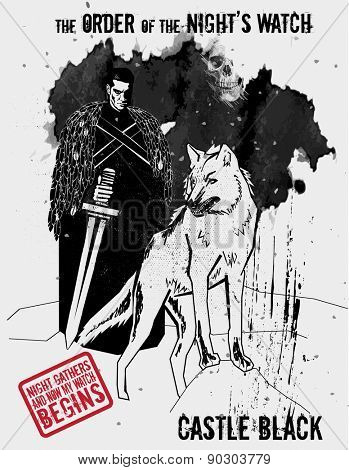 May 11, 2015: Vector illustration of the knight of the Order of the Night's Watch with dire wolf, a military order protecting the realm of men in TV show Game of Thrones
