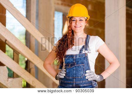 Smiling Woman Bricklayer