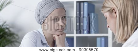 Cancer Woman Wearing Scarf