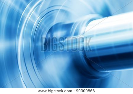 Industrial background. Drilling, boring machine at work. Industry, motion blur.