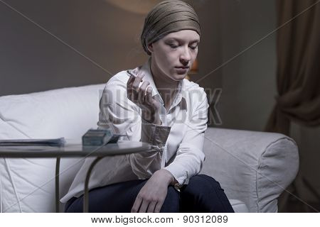 Lonely Woman Smoking Cigarette
