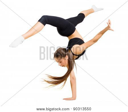 Young girl dancing modern dance isolated