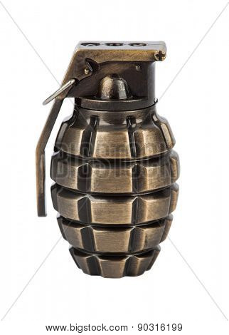 Toy hand grenade isolated on white background