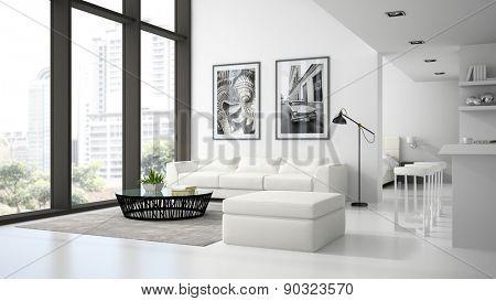 Interior of the modern design  loft  white color 3D rendering