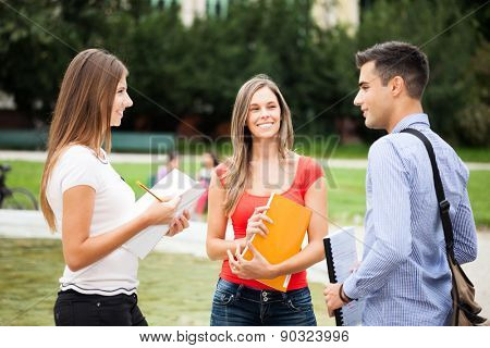 Outdoor portrait of three students talking in a park