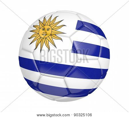 Soccer ball, or football, with the country flag of Uruguay