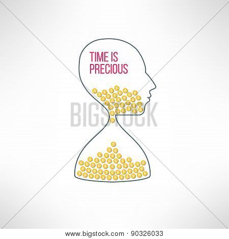 Vector sandglass face with dollar coins. Time is money concept. Financial management idea.