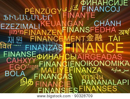 Background concept wordcloud multilanguage international many language illustration of finance glowing light