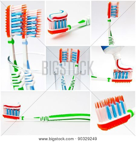 photo collage of a toothbrush with toothpaste
