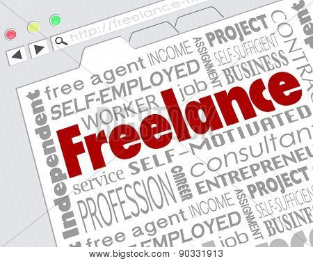 Freelance word on website screen and related terms like independent, contractor, self, employeed, consultant and more