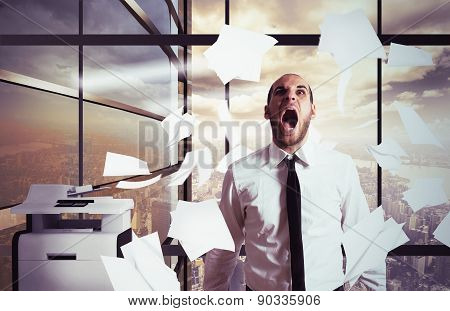 Businessman yells stressed