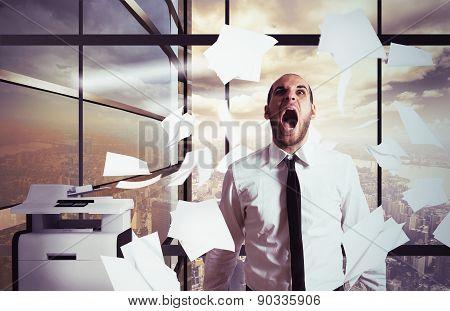 Businessman yells stressed