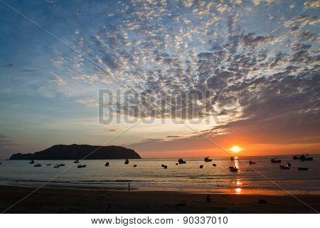 Beautiful sunset view of Salango island in Manabi, Ecuador