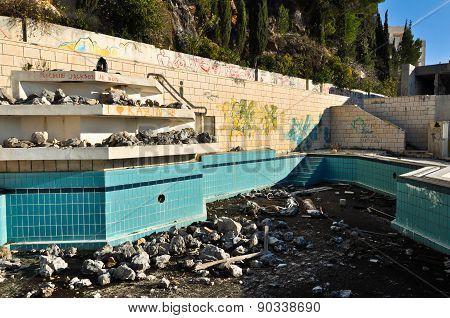 Ruined and abandoned hotel Belvedere in Dubrovnik, Croatia