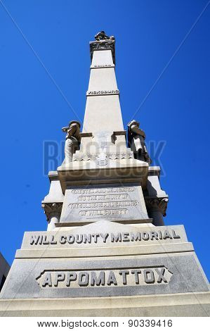 The Will County Civil War Memorial, aka the Soldiers and Sailors of Civil War Monument, stands in front of the Will County Court House in Joliet, Illinois, and was erected in 1884. poster
