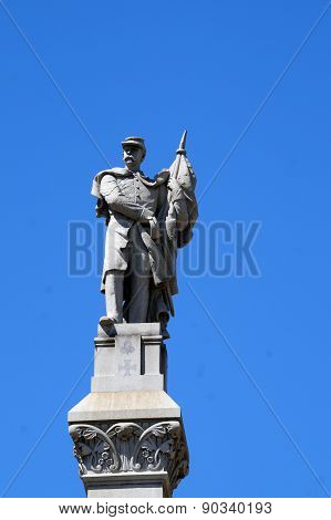 Union Army Officer Atop the Will County Civil War Memorial (erected 1884)