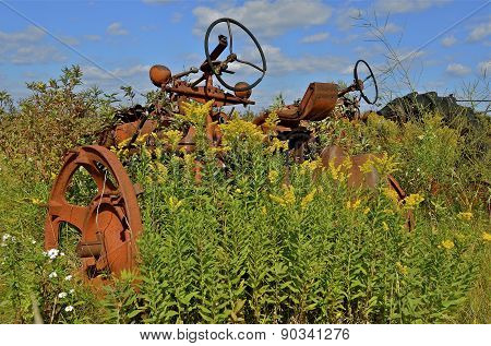 Parts of an old tractor parked in the long grass and wild weeds
