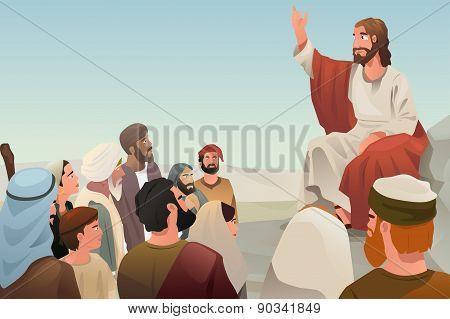 Jesus Spreading His Teaching To People