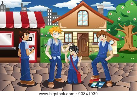 A vector illustration of kids bullying their friend poster