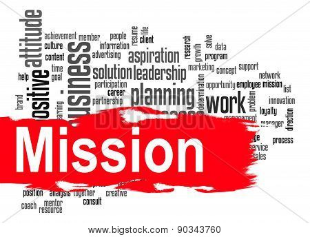 Mission word cloud image with hi-res rendered artwork that could be used for any graphic design. poster