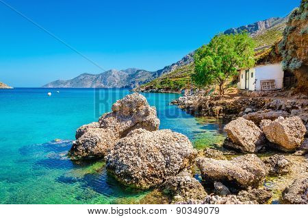 Amazing Greek bay with clear water, Greece