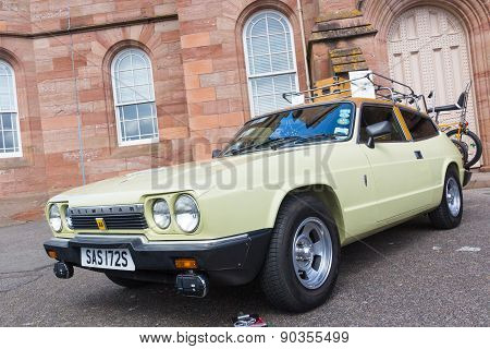 INVERNESS, SCOTLAND - MAY 9: Reliant Scimitar GTE on May 9, 2015 in Inverness, Scotland