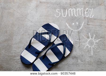 Blue Flip Flops Text Summer On A Wooden Surface