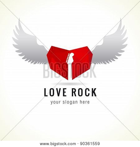 Love rock logo. Red glass heart flying, guitar, wings, brand idea. Musics vector sign. Art events and tours symbol. Rock n roll icon. poster