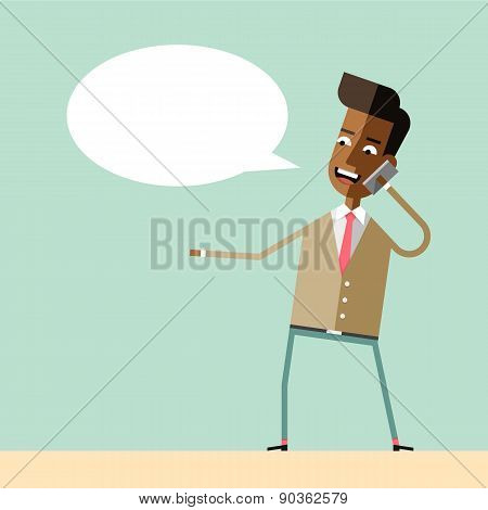 Handsome businessman emotional talking on phone