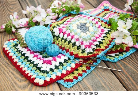 Multicolored Plaid Squares Of Crocheted