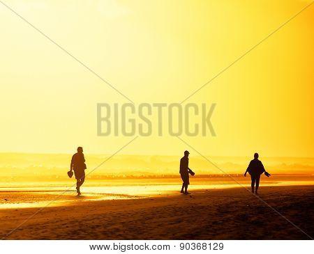 Sunset walk on Playa del Ingles in Gran Canaria, Spain, Europe