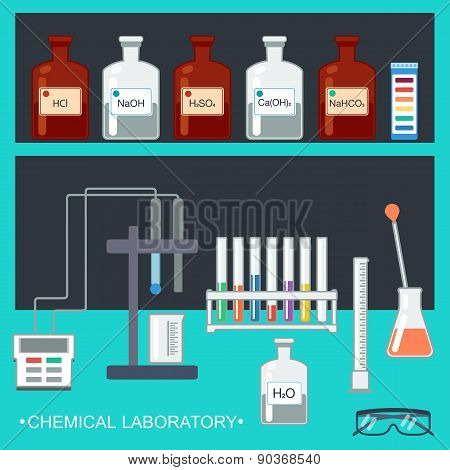 Chemical Laboratory. Flat Design. Chemical Glassware, Measuring Utensils, Ion Electrode, Test Ph Pap