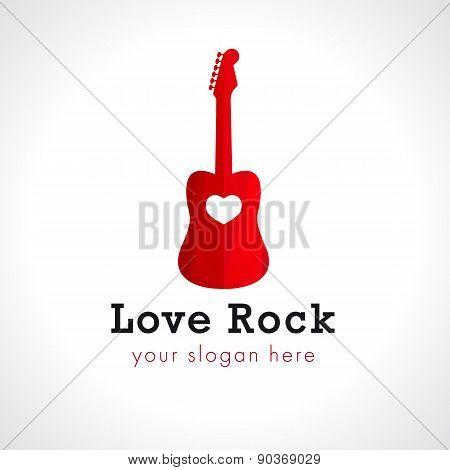 Love rock logo. Red spanish guitar, brand idea. Music vector sign. Art events and tours symbol. Rock icon.