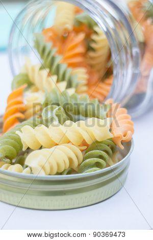 Multicolor Fusilli Prepare For Pasta Cuisine