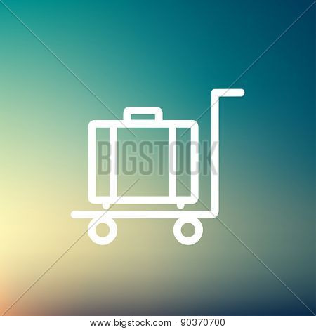 Trolley luggage icon thin line for web and mobile, modern minimalistic flat design. Vector white icon on gradient mesh background.