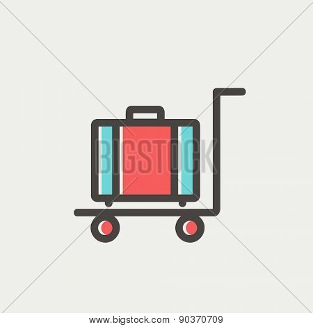 Trolley luggage icon thin line for web and mobile, modern minimalistic flat design. Vector icon with dark grey outline and offset colour on light grey background.