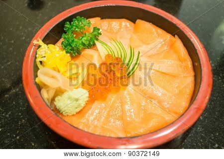 Japanese Rice Box With Salmon Sashimi