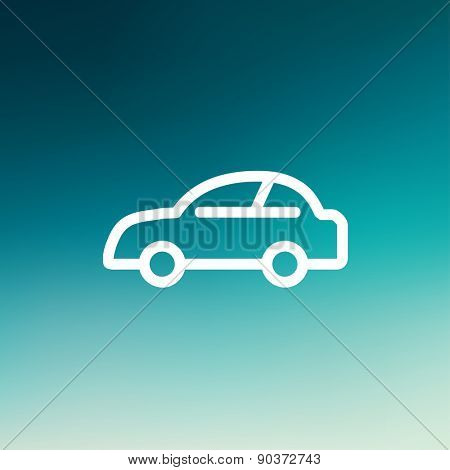Car icon thin line for web and mobile, modern minimalistic flat design. Vector white icon on gradient mesh background.