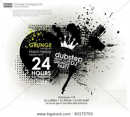 Grunge background in black color. Vector illustration. Grunge background with a colorful rainbow ink splat effect. Grunge banner with an inky dribble strip with copy space for party and t-shirt print