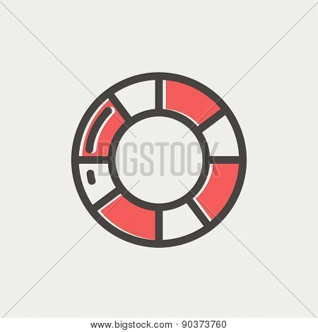 Life preserver icon thin line for web and mobile, modern minimalistic flat design. Vector icon with dark grey outline and offset colour on light grey background.
