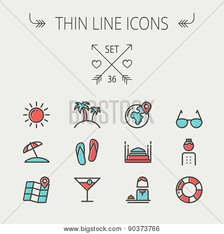 Travel thin line icon set for web and mobile. Set include-beach umbrella, slippers, map, sun, sunglasses, palm tree icons. Modern minimalistic flat design. Vector icon with dark grey outline and
