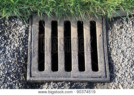 Old storm and flood street drain cover poster