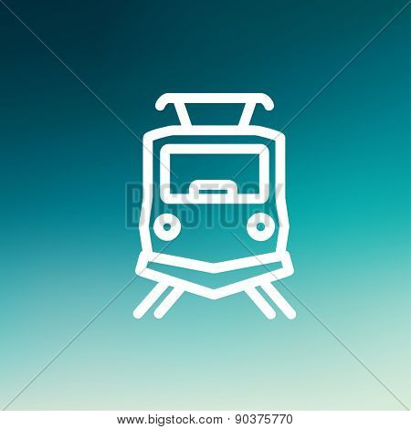Front view of the train icon thin line for web and mobile, modern minimalistic flat design. Vector white icon on gradient mesh background. poster